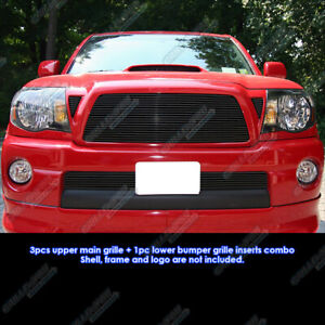 Fits 2005 2010 Toyota Tacoma Black Billet Grille Grill Combo Insert