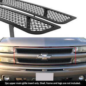 Fits 1999 2002 Chevy Silverado 1500 00 06 Tahoe Main Stainless Black Mesh Grille