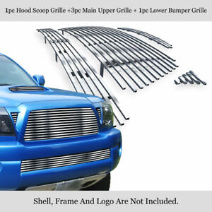 Fits 2005 2010 Toyota Tacoma Trd Sport Stainless Chrome Billet Grille Combo