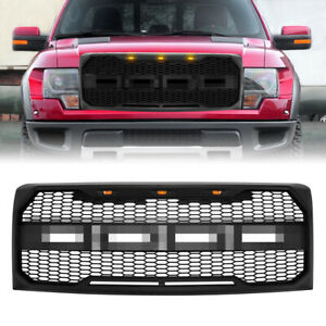 Compatible Grille For 2009 2014 Ford F150 Raptor Style Front Bumper Grille Black