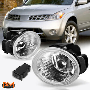 For 02 04 Altima Murano Clear Lens Front Bumper Driving Fog Light Lamp Switch