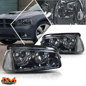 For 06 10 Dodge Charger Headlight lamps Smoked Housing Clear Lens Clear Corner