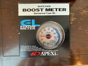 New Apexi El Mechanical Boost Meter Gauge 60mm White Nib