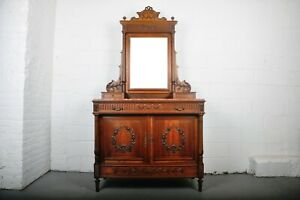 1900 S French Walnut Vanity Dresser With Red Italian Marble Top