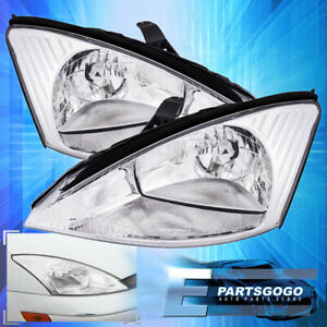 For 00 04 Ford Focus Driving Replacement Headlights Lamps Assembly Black Clear