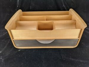 Michael Graves Blonde Bentwood Office Desk Organizer With Brushed Metal Drawer