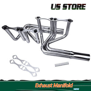 For Chevy Small Block T Bucket Roadster Hoodless Exhaust Manifold Header Us