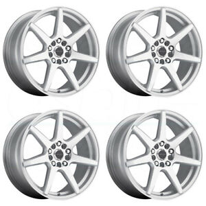 17x7 5 Raceline 131s Evo 5x108 5x114 3 20 Silver Wheels Rims Set 4