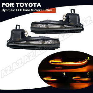2x Smoked Led Sequential Side Mirror Signal Light For Toyota 2016 20 Tacoma Rav4