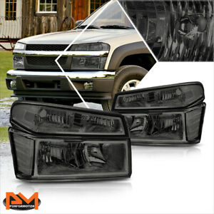 For 04 12 Chevy Colorado gmc Canyon Bumper Headlight lamps Clear Corner Smoked