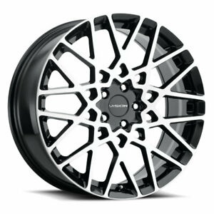 18 Inch 5x120 4 Wheel Rims Vision 474 Recoil 18x8 38 Black Machined