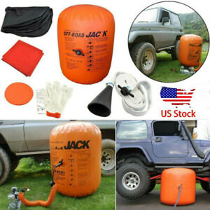 4 Ton Exhaust Pump Dual Inflatable Air Jack And Bag Vehicle Truck Rescue Tool Us