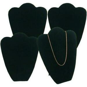 4 Black Velvet Necklace Pendant Jewelry Bust Display