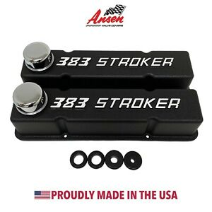 383 Stroker Chevy Valve Covers Black Sbc Tall Raised Logo Ansen Usa