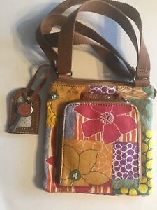 Woman's Fossil Crossbody Small Tote Purse Bag Floral Colorful Canvas $12.90