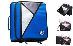 Case it 1 5 inch 3 ring Zipper Binder With Removable Laptop Sleeve Blue Lt 207