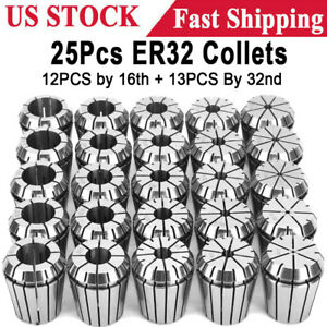 Er32 Collet 25pc Set 1 16 3 4 By 16th And 32nd Industrial Grade Accurate Usa