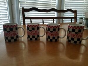 Set Of 4 Checkered Flag Coca Cola Mugs