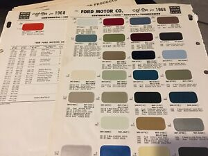 1968 Ford Mustang Thunderbird Galaxie Lincoln Paint Chip Chart All Models