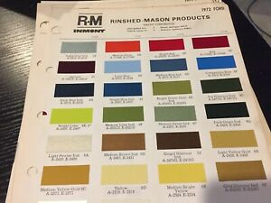 1972 Ford Mustang Thunderbird Paint Chip Chart All Models
