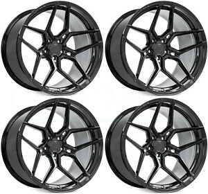 22x9 22x10 5 Rohana Rfx11 5x112 35 35 Black Wheels Rims Set 4 66 56