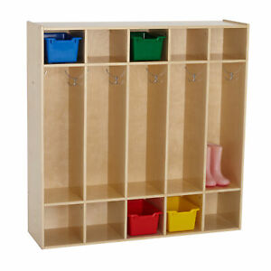 Ecr4kids Toddler 5 Section Coat Locker With Cubbies Birch Classroom Furniture
