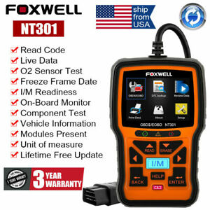 Usa Ship Eobd Fault Code Reader Scanner Engine Car Diagnostic Tool Foxwell Nt301