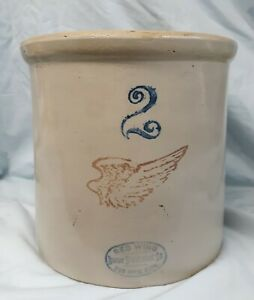 Antique Red Wing Union Stoneware 2 Gallon Crock W 4 Inch Wing