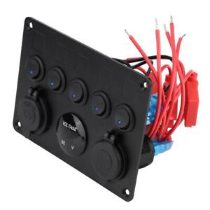 Black Universal Car Boat Toggle Switch Panel 5 Gang With Led Work Light 12 24v
