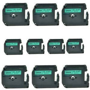 10pk Mk 731 Mk731 Black On Green Label Tape For Brother P touch Pt 65sb 1 2