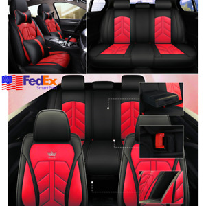 Luxury Auto Seat Covers Set Red Black Pu Leather Cushion Pad For Bmw Us Stock