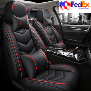 Black Pu Leather Car Seat Covers Front back Headrest Protector For 5 seats Sedan