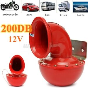 Super Loud Air System 200db 12v Train Air Horn For Car Truck Boat Taxi Red Us