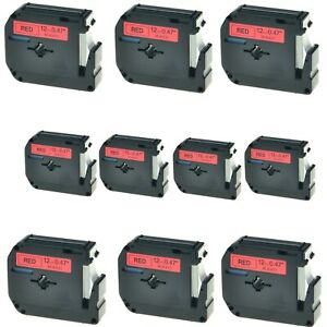 10pk M k431 Mk431 Black On Red 0 47 Label Tape For Brother P touch Pt 80 12mm