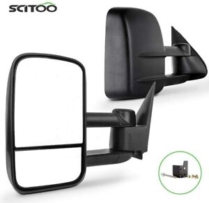 Manual Extending Side View Towing Mirrors For 88 98 Chevy Gmc C K Lh Rh Pair Set