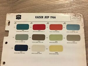 1965 1966 Jeep Paint Chip Chart Nice Original