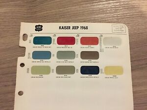 1965 1966 1967 1968 Jeep Paint Chip Chart Nice Original