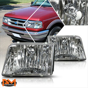 For 93 97 Ford Ranger Chrome Housing Clear Lens Headlight lamps Replacement Pair