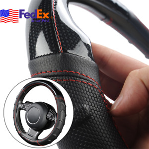 Black Red Pu Leather Car Steering Wheel Cover Universal 38cm Non Slip Grip Usa