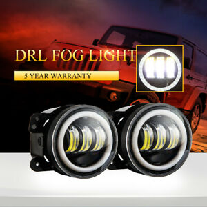 2x 4 in 60w Cree Led Fog Lights Drl Driving Lamp 6000k For Jeep Wrangler Jk jku