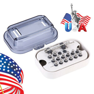 Us Dental Implant Torque Wrench Ratchet 10 70ncm With Wrench 12pcs Drivers Kit