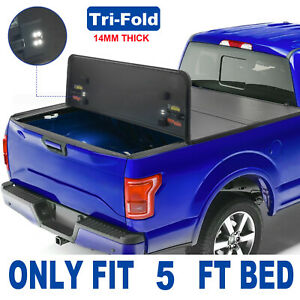 3 fold 5 Ft Hard Truck Bed Tonneau Cover For 2016 2020 Toyota Tacoma W Lamp