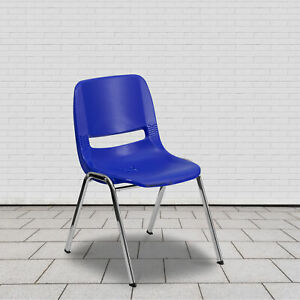 Navy Plastic Stackable Chair Ergonomic W Chrome Frame For Business School Office