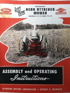 Dearborn Farm Ford Tractor Sickle Mower 14 15 14 16 Owner Service Parts Manual