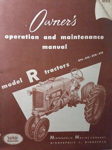 Minneapolis Moline Model R Rtu Rts Rtn Rte Agricultur Farm Tractor Owners Manual