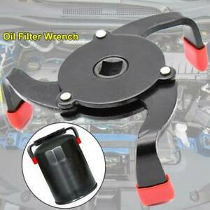 Three Jaw Oil Filter Wrench W Anti Slip Edging Portable Adjustable Removal Tool