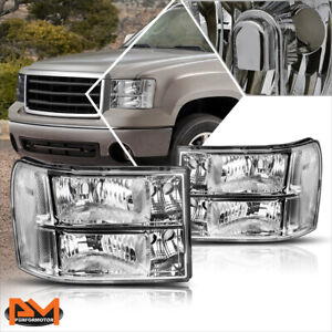 For 07 14 Gmc Sierra Gmt900 Chrome Housing Headlight Clear Corner Signal Lamps