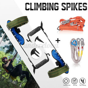 Tree Climbing Spike Set safety Belt Rope Straps Safety Lanyard With Carabiner W