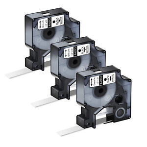 3pk Black On White Label Tape For Dymo D1 45013 Labelmanager 150 155 1 2 12mm