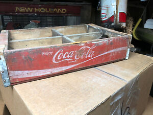 Vintage Coca-Cola Wooden Red Soda Pop Crate Carrier Box Case Wood Case    NB1